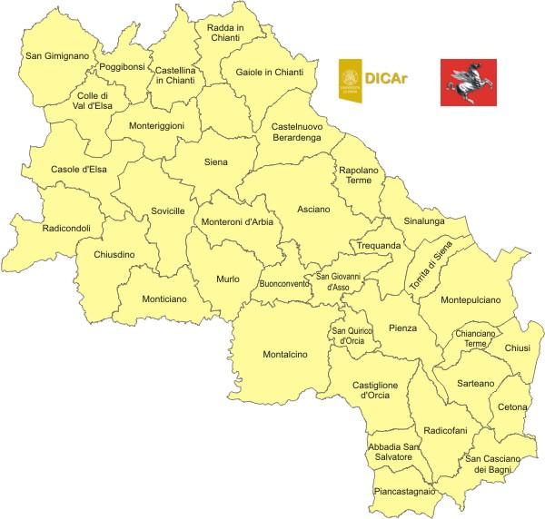 Cartina Toscana Provincia Di Siena.Mappa Provincia Di Siena Toscana