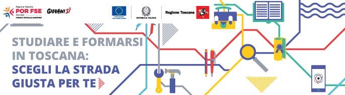 """Logo Regione Toscana """"Scegli la strada giusta per te"""""""